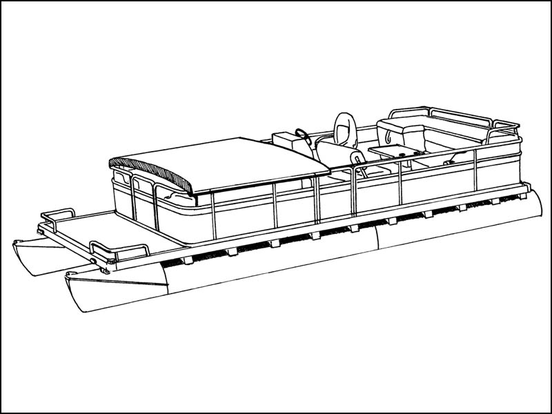 Pontoon Boat with Fold Down Hard Top