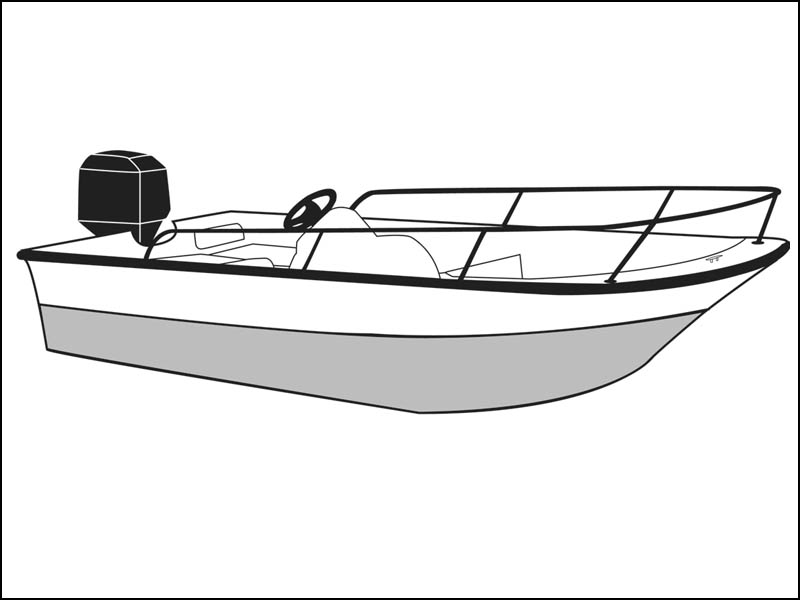 Whaler Style Boat with Bow Rails and Side Rails