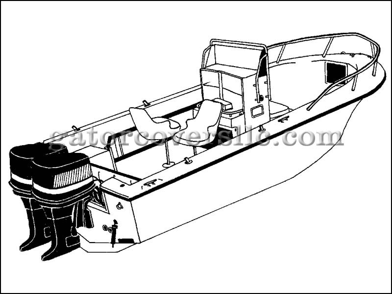 V-Hull Center Console Fishing Boat with High Bow Rails - Twin Engines