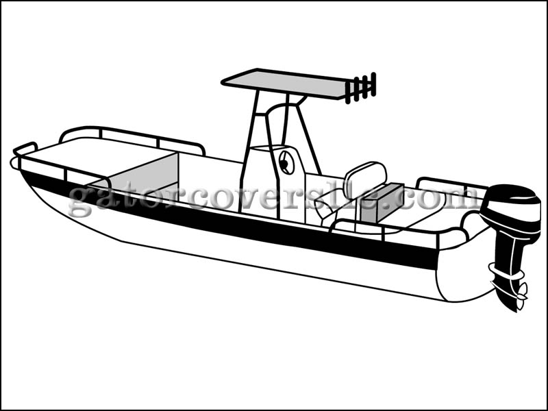 Rounded Hull Bay Boat with T-Top